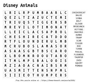 Word Search on Disney Animals