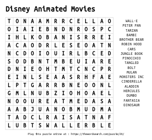Word Search on Disney Animated Movies