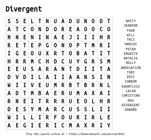 Word Search on Divergent