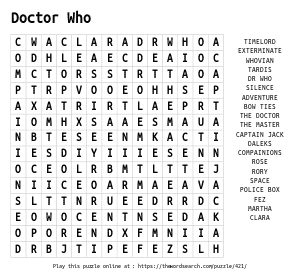 Word Search on Doctor Who
