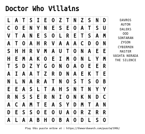 Word Search on Doctor Who Villains