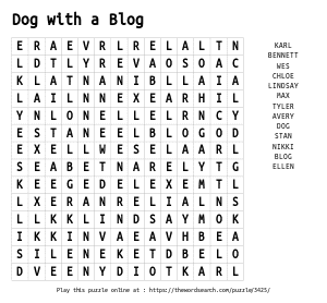 Word Search on Dog with a Blog