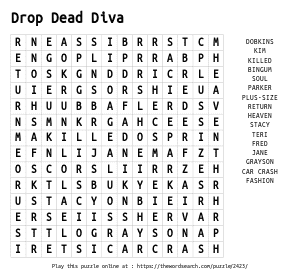 Word Search on Drop Dead Diva