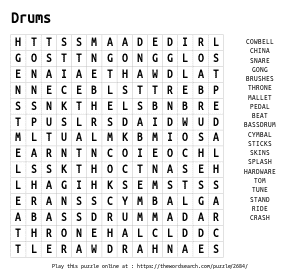 Word Search on Drums
