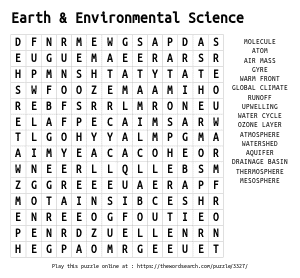 Word Search on Earth & Environmental Science