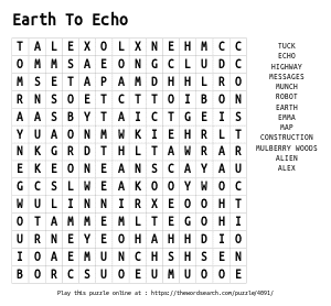 Word Search on Earth To Echo