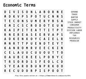 Word Search on Economic Terms
