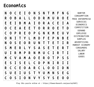 Word Search on Economics