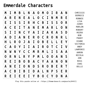 Word Search on Emmerdale Characters