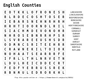 Word Search on English Counties