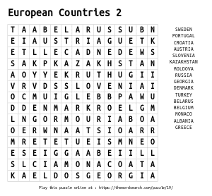 Word Search on European Countries 2