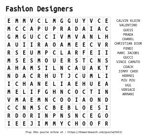 Word Search on Fashion Designers