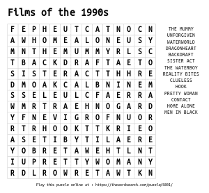 Word Search on Films of the 1990s