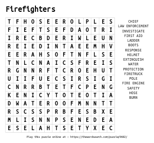 Word Search on Firefighters