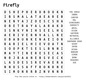 Word Search on Firefly