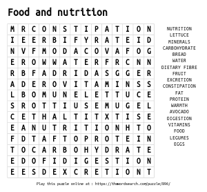Word Search on Food and nutrition