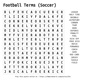 Word Search on Football Terms (Soccer)