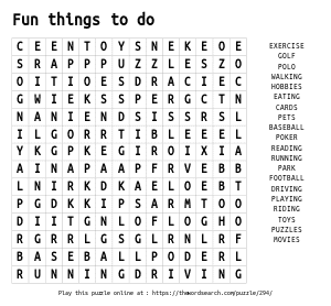 Word Search on Fun things to do