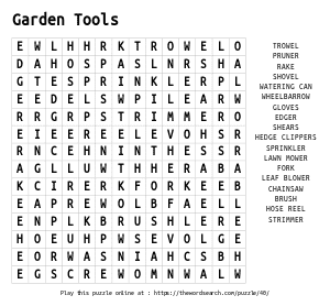 Word Search on Garden Tools