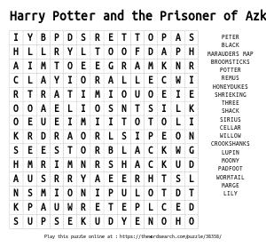 Word Search on Harry Potter and the Prisoner of Azkaban