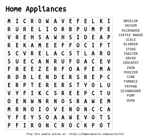 Word Search on Home Appliances