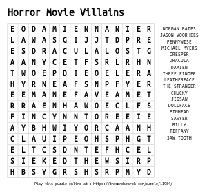 Word Search on Horror Movie Villains