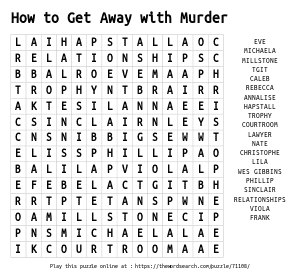 Word Search on How to Get Away with Murder