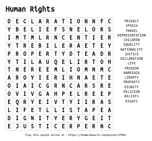 Word Search on Human Rights