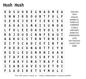 Word Search on Hush Hush