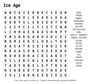 Word Search on Ice Age