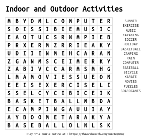 Word Search on Indoor and Outdoor Activities