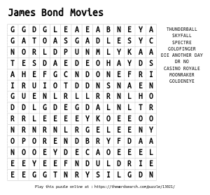 Word Search on James Bond Movies