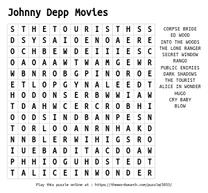 Word Search on Johnny Depp Movies