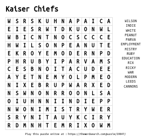Word Search on Kaiser Chiefs