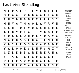 Word Search on Last Man Standing
