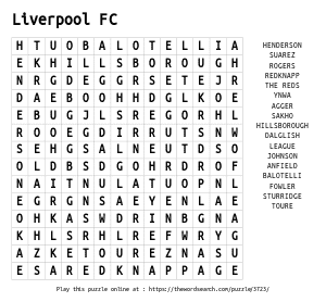Word Search on Liverpool FC