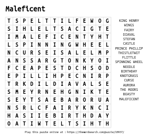 Word Search on Maleficent