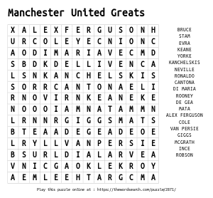 Word Search on Manchester United Greats