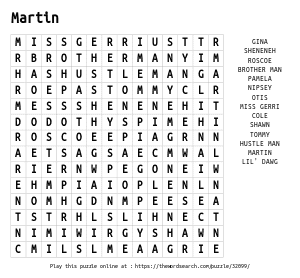 Word Search on Martin