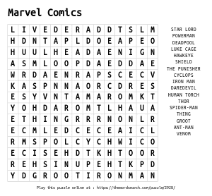 Word Search on Marvel Comics