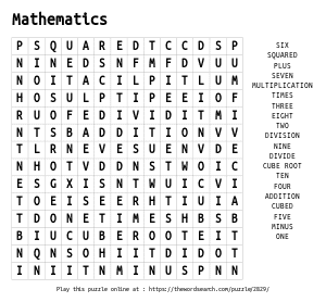 Word Search on Mathematics