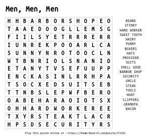 Word Search on Men, Men, Men