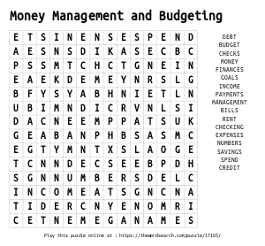 Word Search on Money Management and Budgeting