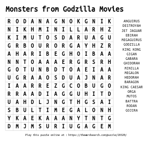 Word Search on Monsters from Godzilla Movies