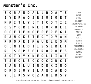 Word Search on Monster's Inc.