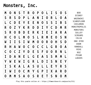 Word Search on Monsters, Inc.