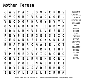 Word Search on Mother Teresa