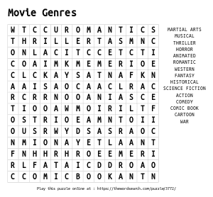 Word Search on Movie Genres