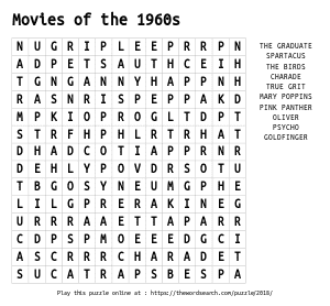 Word Search on Movies of the 1960s