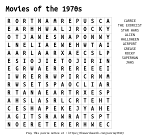 Word Search on Movies of the 1970s